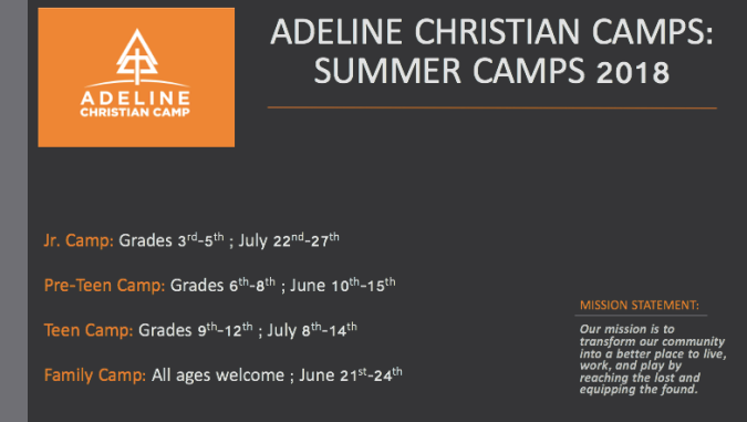 Adeline 2018 Summer Camp Flyer